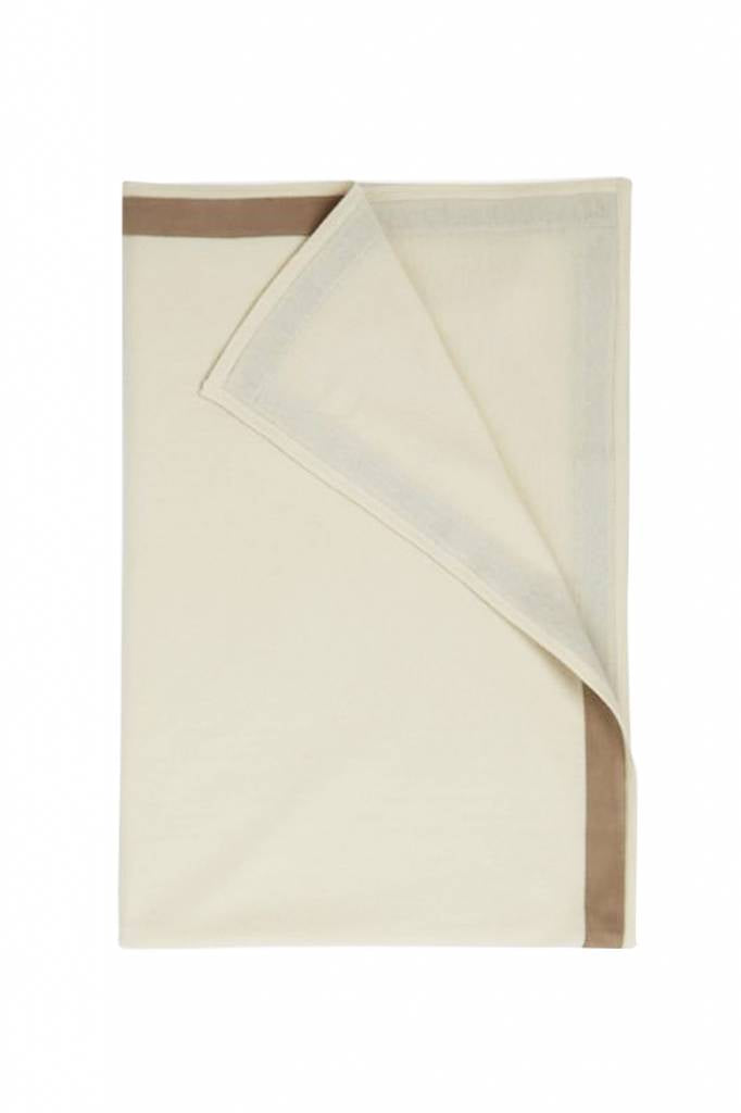 100% Cashmere Throw w/ Suede Border Ivory