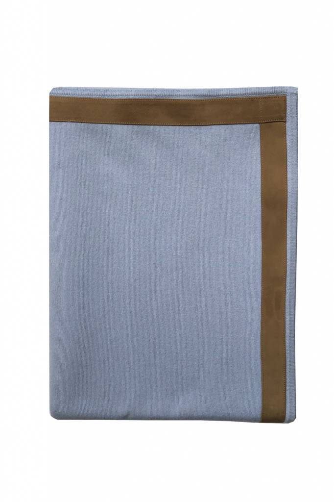 100% Cashmere Throw w/ Suede Border Indigo