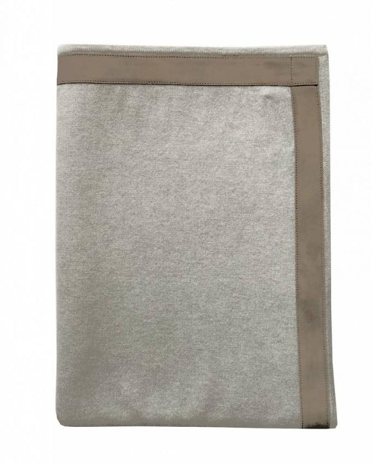 100% Cashmere Throw w/ Suede Border Pearl