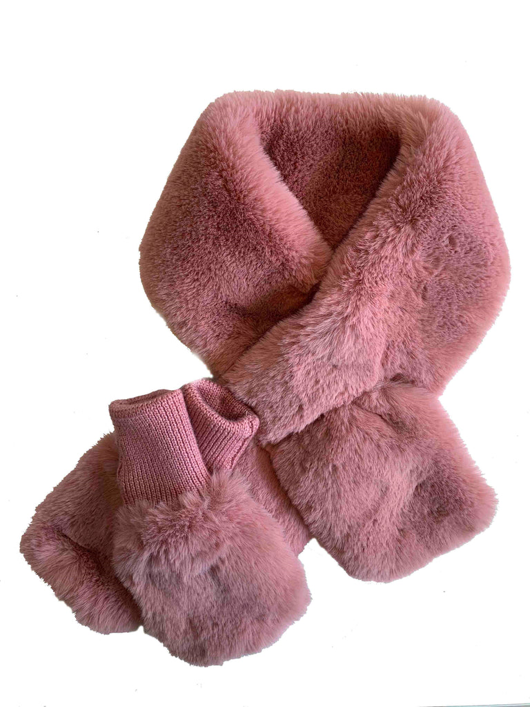 Jocelyn Pink Faux Fur Pull Thru Scarf & Mittens Set
