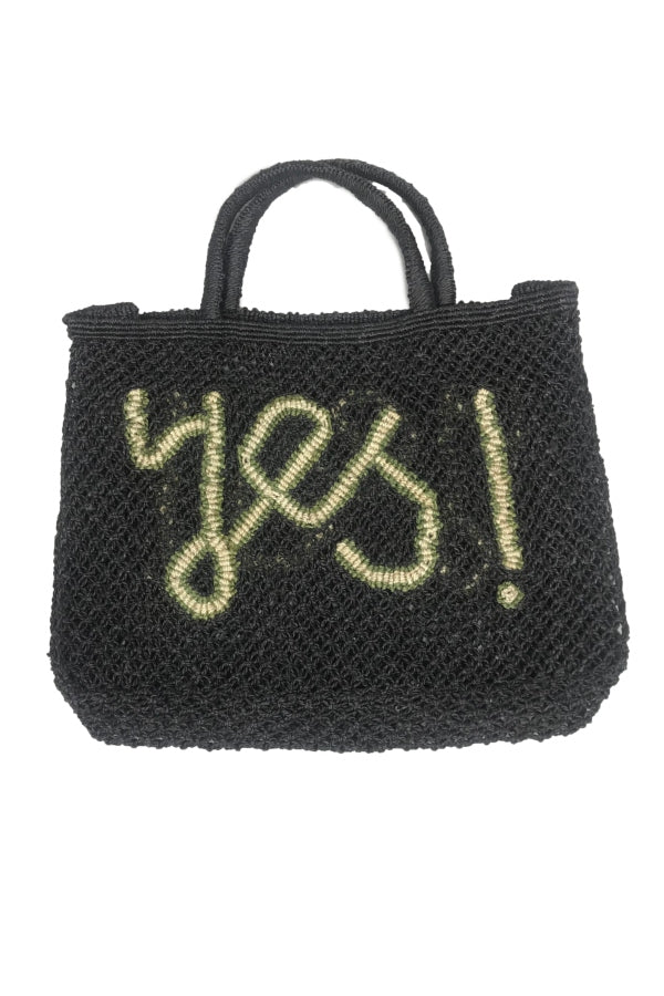Small Jute Black 'Yes' Tote