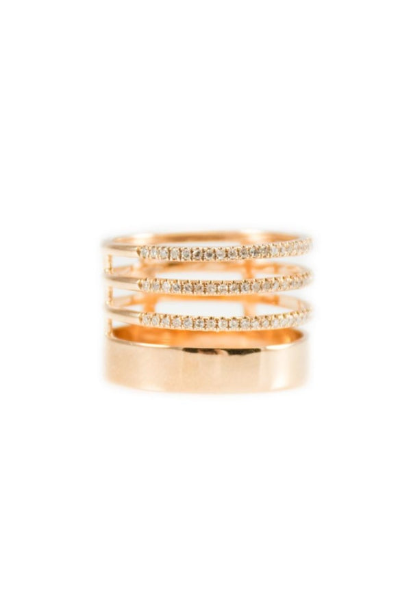 Rose Gold Triple Diamond Row Ring