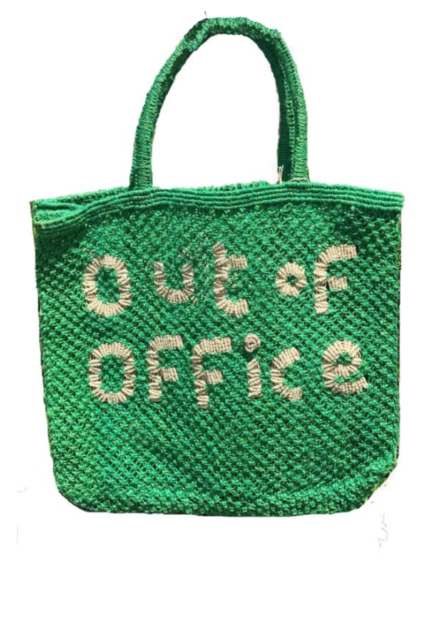 Large Jute Green 'Out of Office' Tote