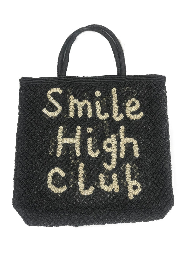 Large Jute Black 'Smile High Club' Tote