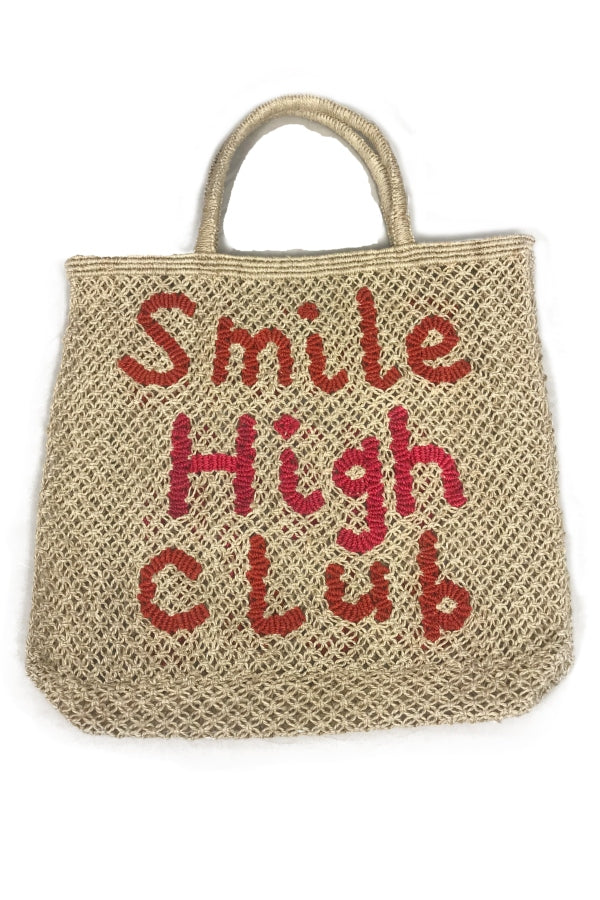 Large Jute 'Smile High Club' Tote
