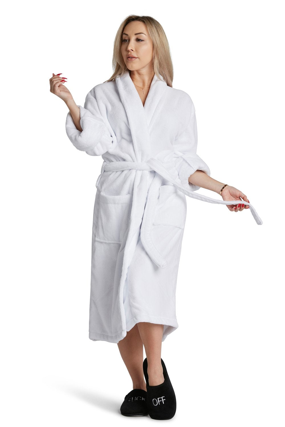 White Plush Robe Adorable Badass