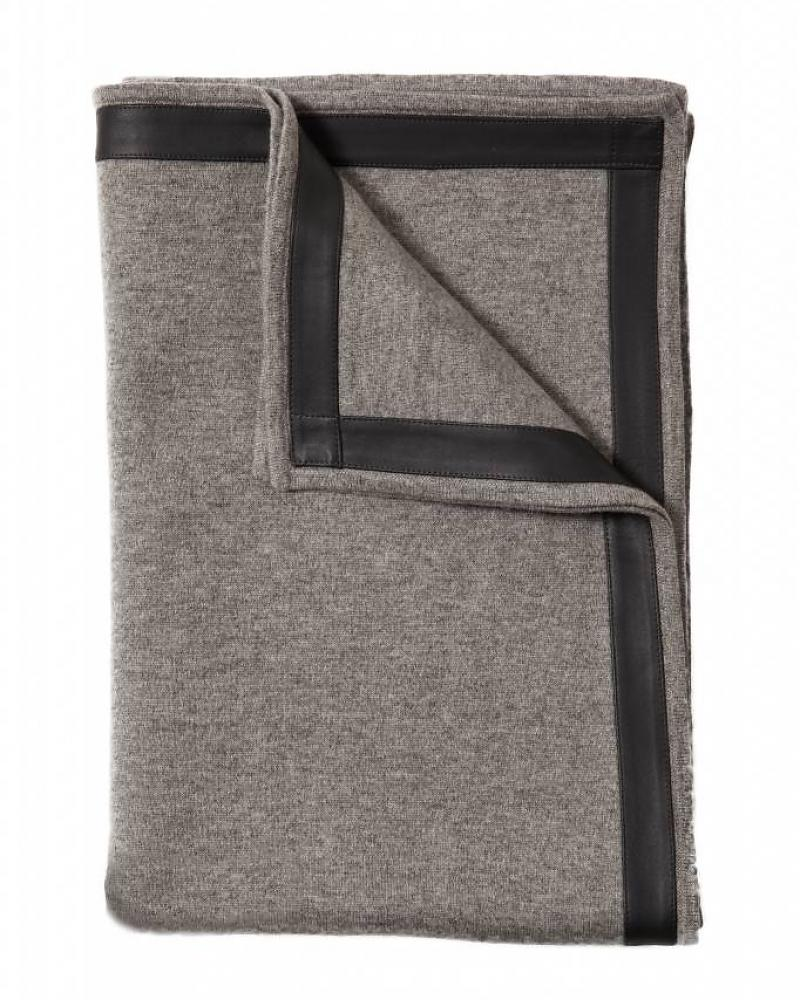 100% Cashmere Throw w/ Leather Border Gray