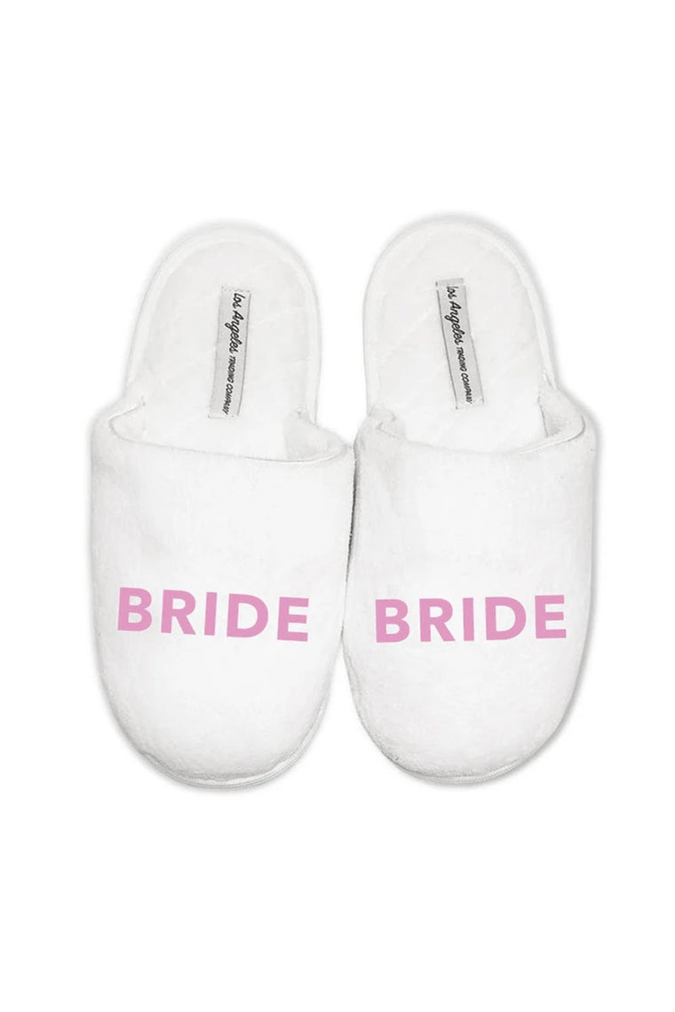 LA Trading Co White Plush Slippers Bride