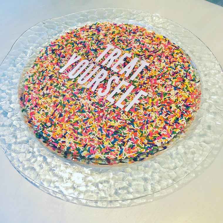 RESINatebyks Round 'Treat Yourself' Sprinkles Platter