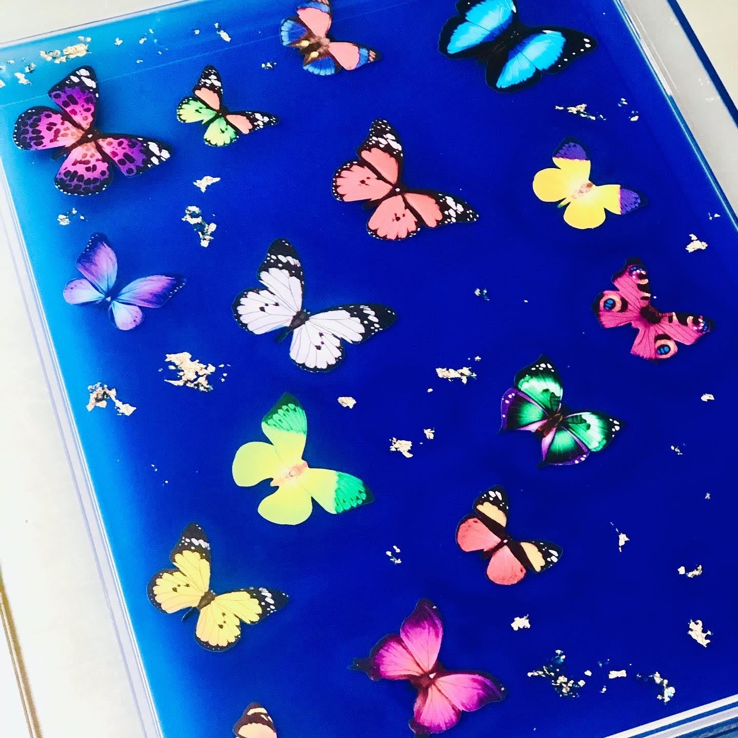 RESINatebyks Blue Lucite Butterfly Tray