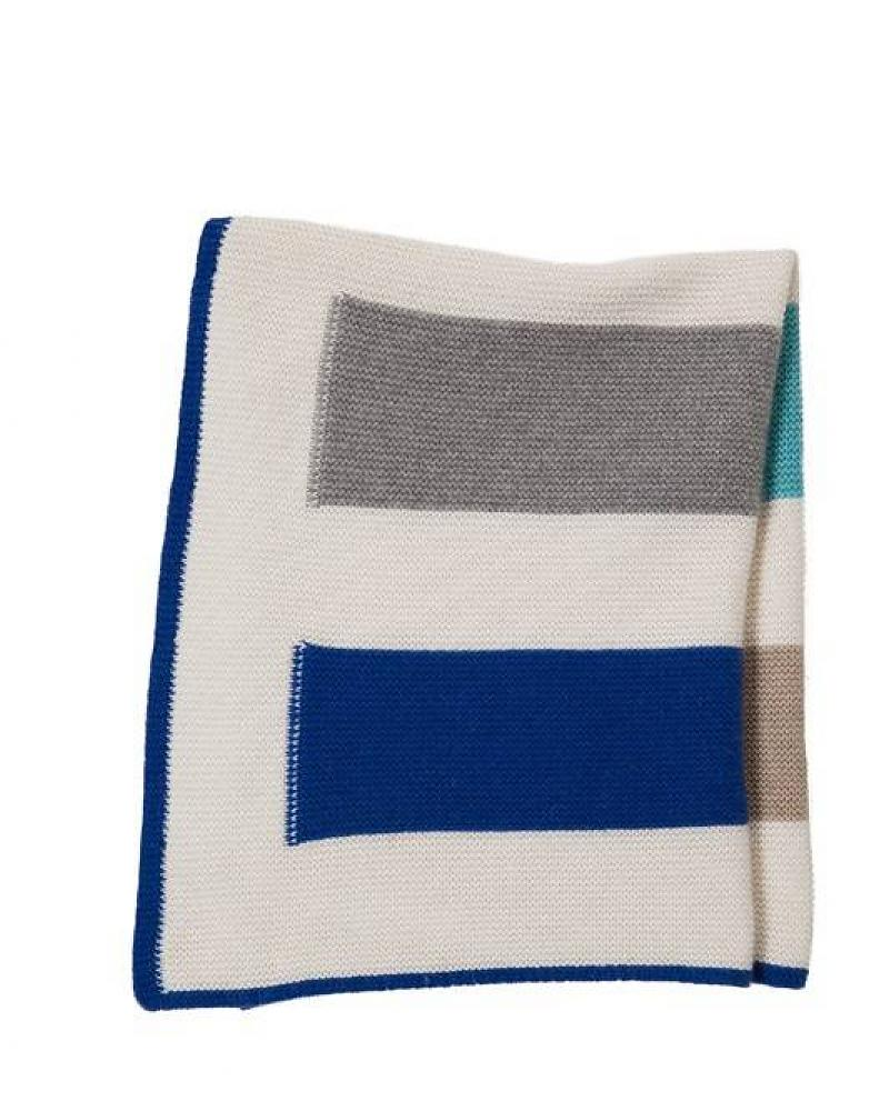100% Cashmere Baby Striped Blanket Blue