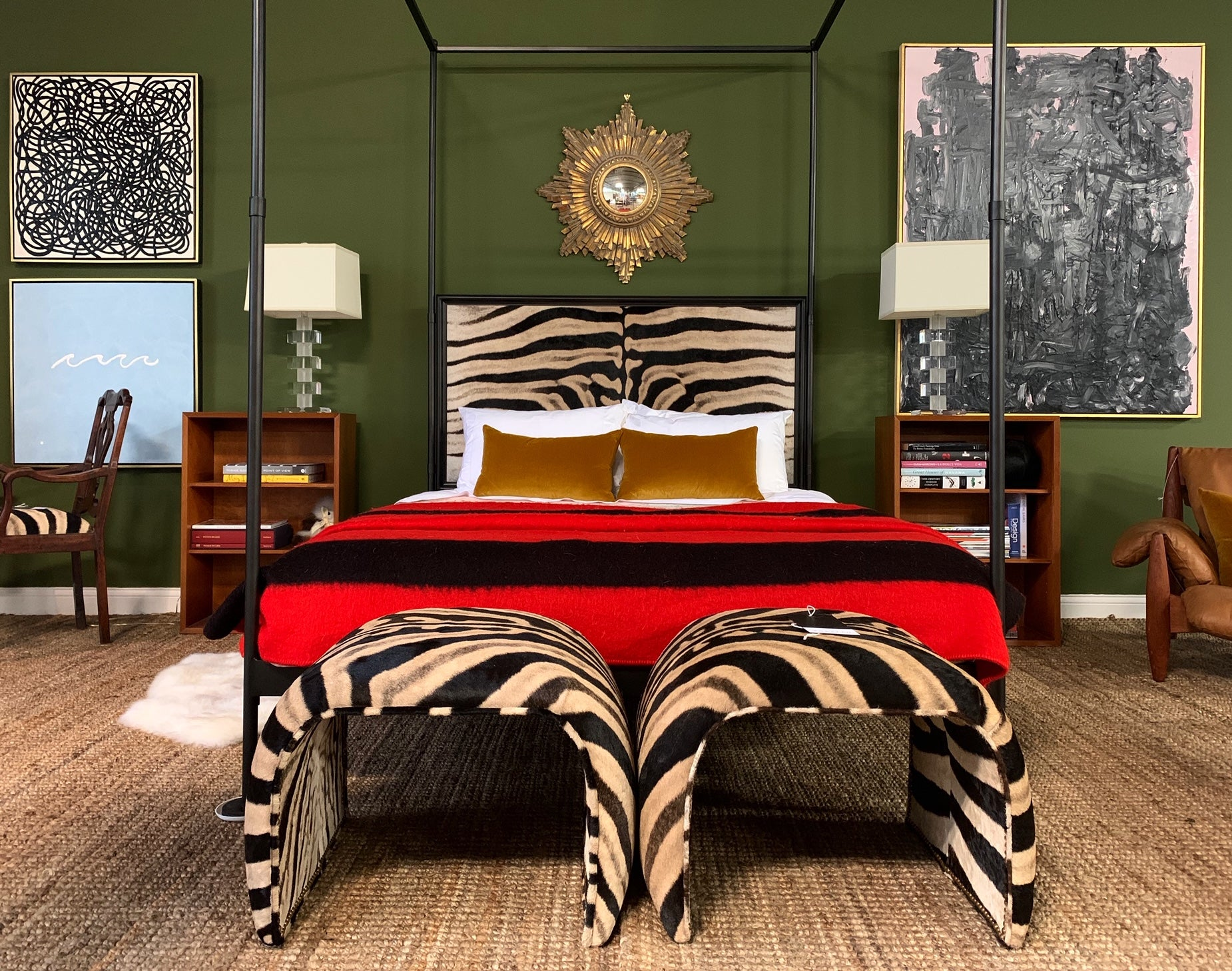 Iron Canopy Bed in Zebra Hide - FORSYTH