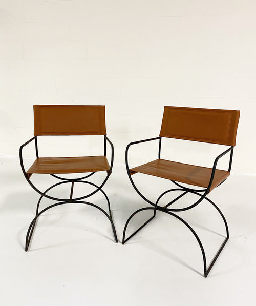 Iron Curule Chairs in Loro Piana Leather, pair
