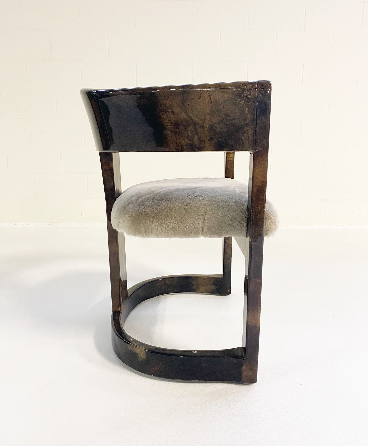 Lacquered Goatskin Armchair in Shearling - FORSYTH