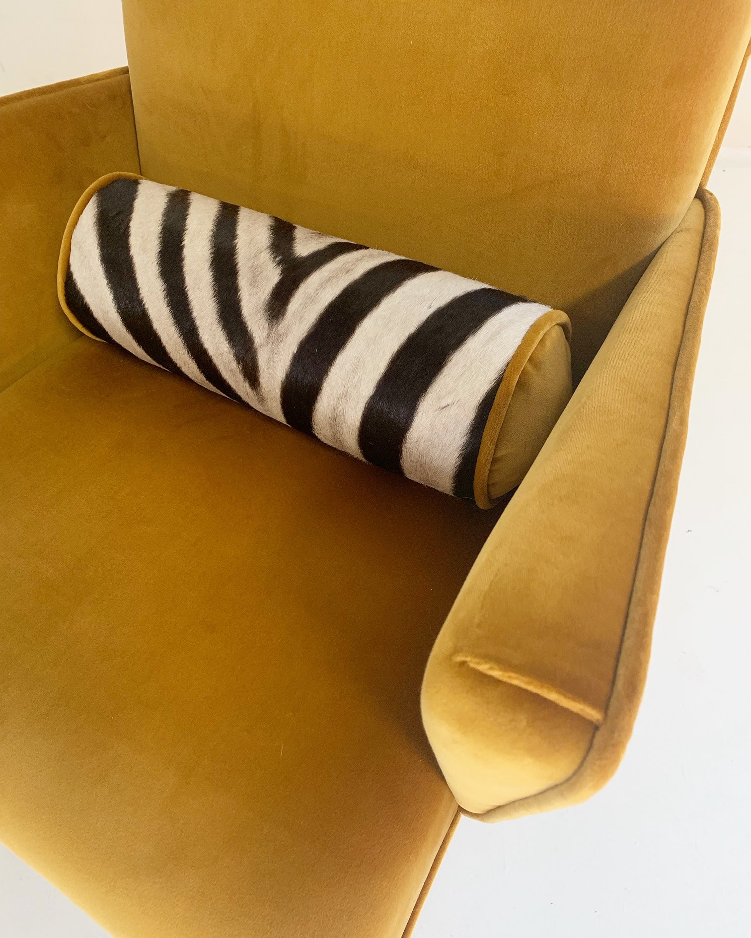 Mexican Modernist Chairs in Loro Piana Velvet and Zebra Hide, pair - FORSYTH