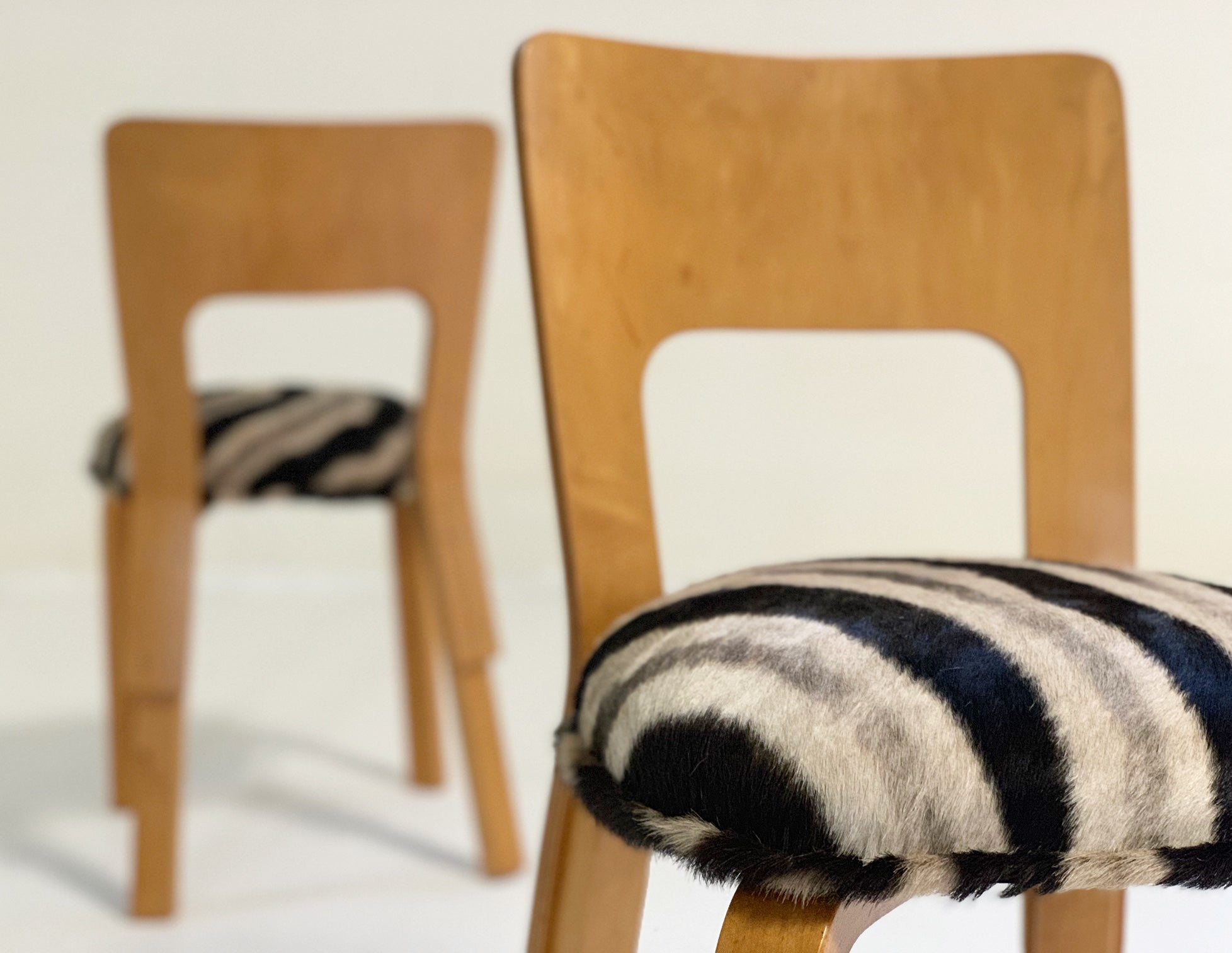 Model 66 Chairs in Zebra Hide, pair - FORSYTH