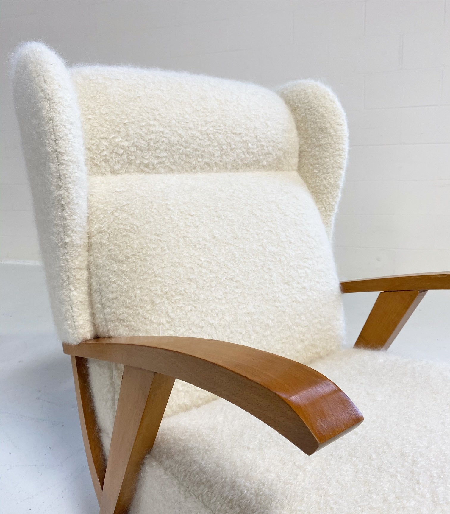 Italian Lounge Chairs in Pierre Frey boucle, pair