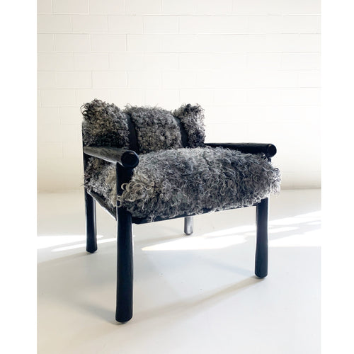 Black Butte Chair and Ottoman with Gotland Sheepskin Cushions - FORSYTH