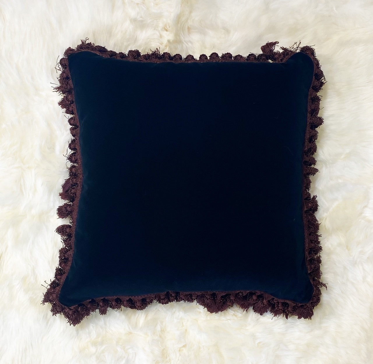 "Black Velvet Pillow, 21"" Square"