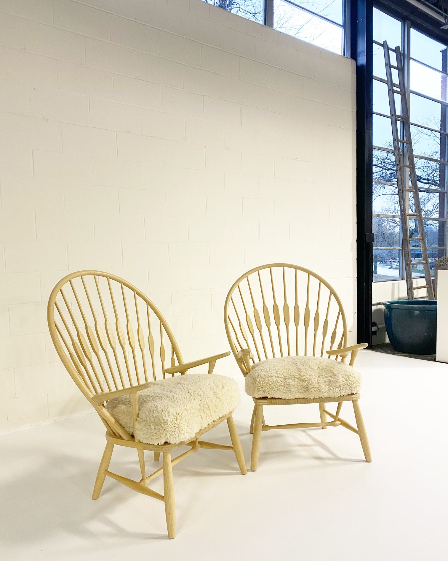 Peacock Lounge Chairs, pair