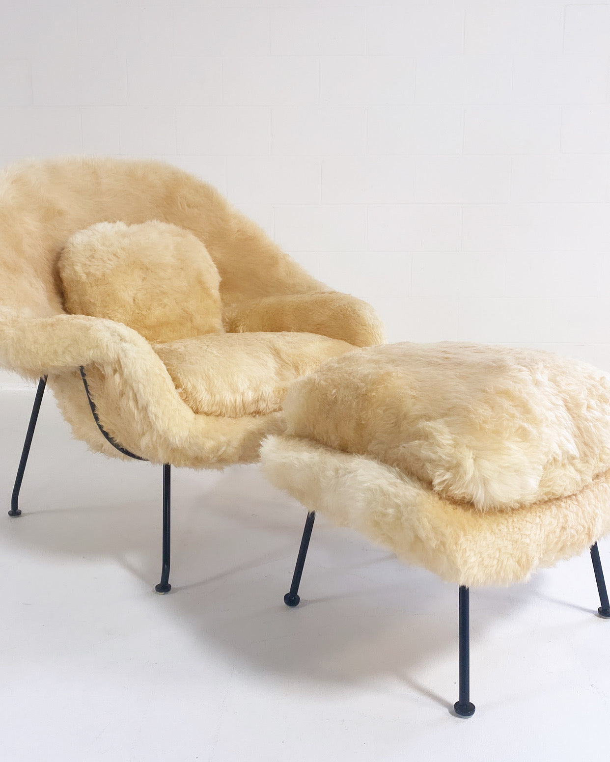 Bespoke Womb Chair and Ottoman in Texas Sheepskin