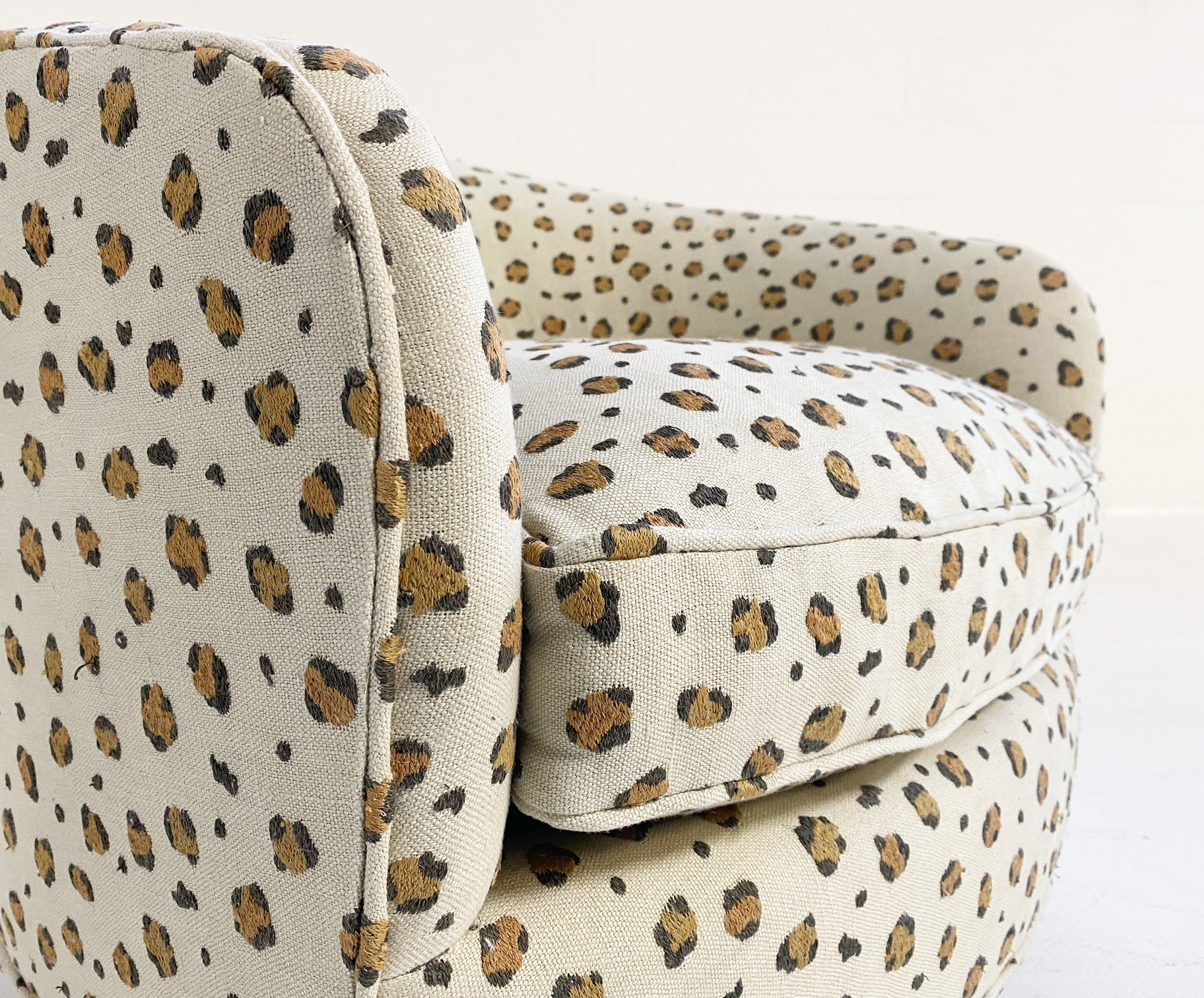 Swivel Lounge Chair in Chelsea Textiles 'Snuggle' Leopard Fabric