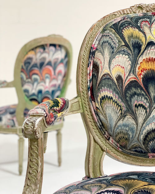 "18th Century French Painted Chairs in Beata Heuman ""Marbleized Velvet,"" pair"