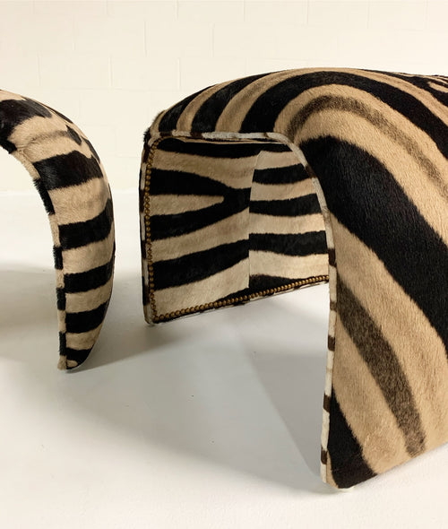 Waterfall Ottomans in Zebra Hide, Pair - FORSYTH