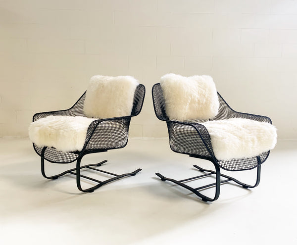Sculptura Lounge Chairs and Ottoman with Sheepskin Cushions - FORSYTH