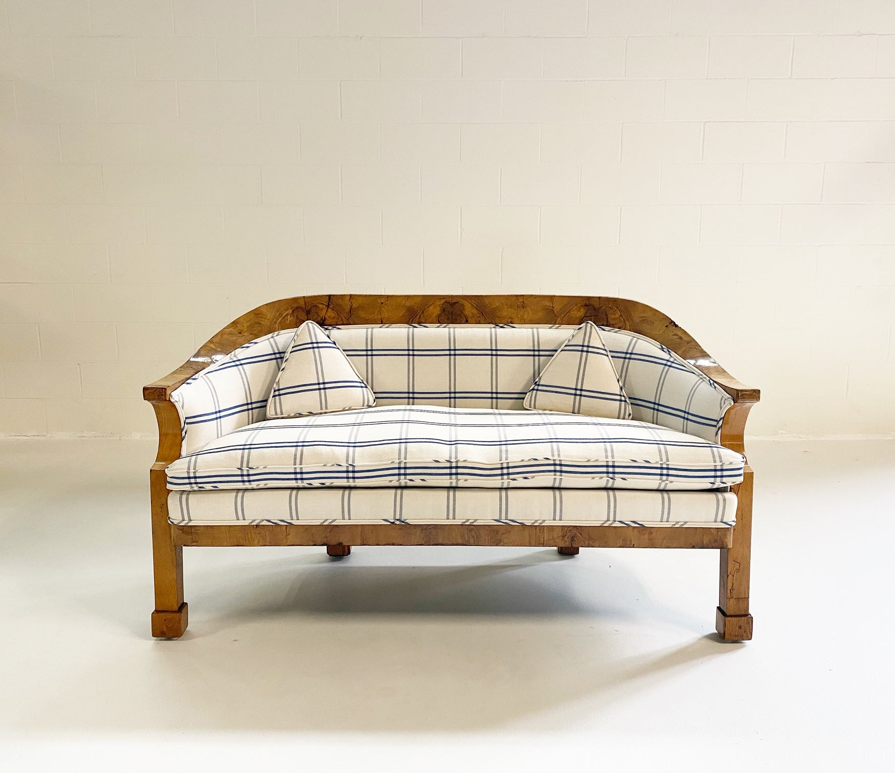 Biedermeier Loveseat in Schumacher Indigo Plaid - FORSYTH