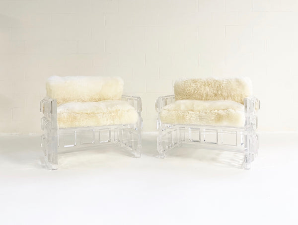 Lucite Chairs with Brazilian Sheepskin Cushions, pair