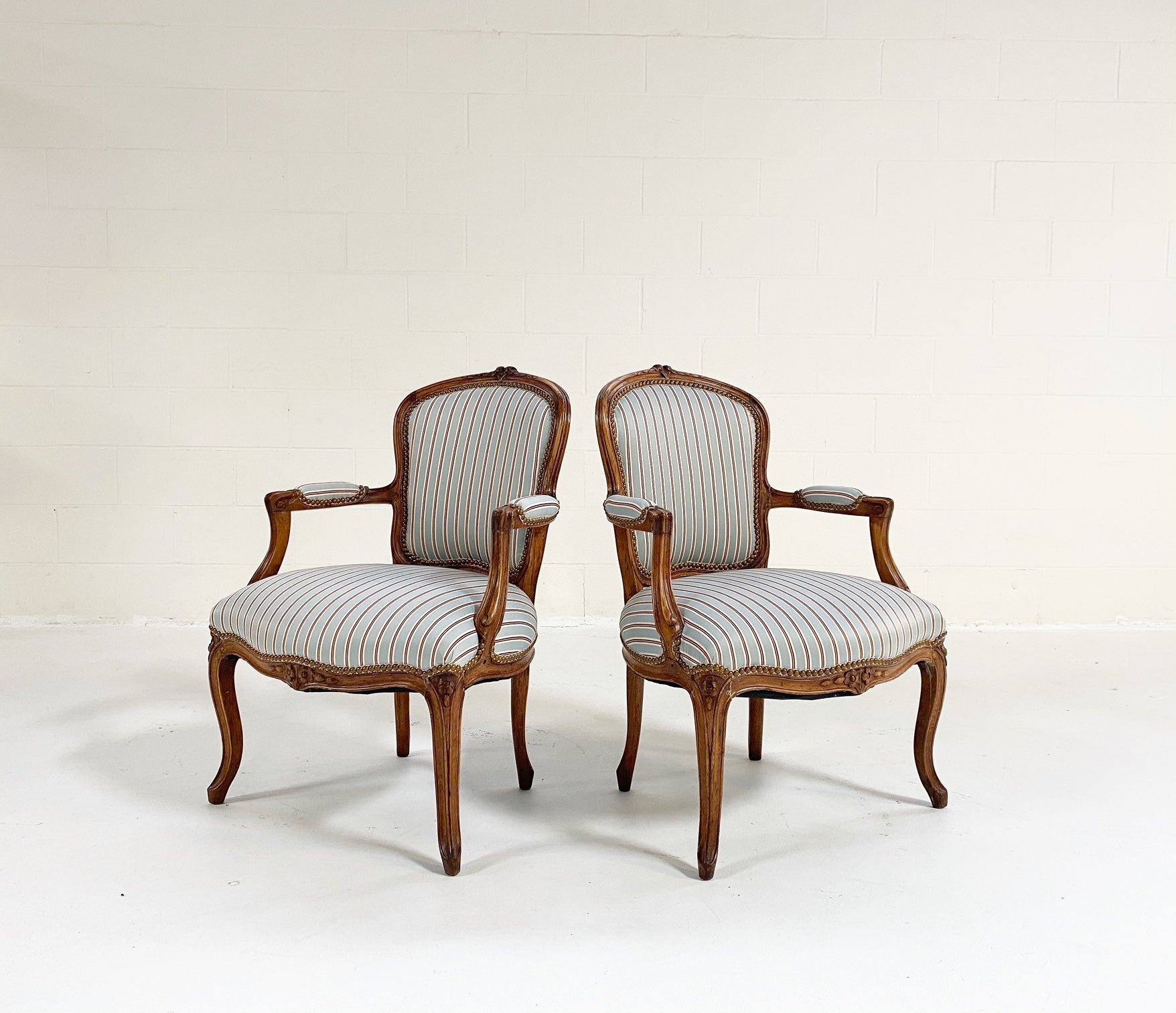Louis XV Style Beech Fauteuils in Dedar Silk Stripe, Pair