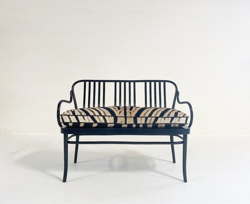Bentwood Bench with Custom Zebra Hide Cushion