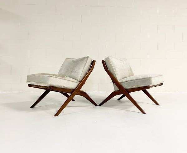 Scissor Chairs with Brazilian Cowhide Cushions, pair - FORSYTH