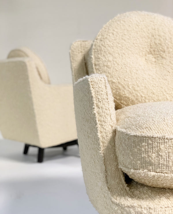 Model 5609 Swivel Lounge Chairs in Schumacher Boucle, Pair