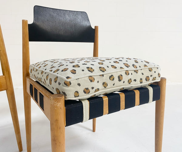 SE 120 Chairs with Custom Chelsea Textiles 'Snuggle' Leopard Cushions, pair