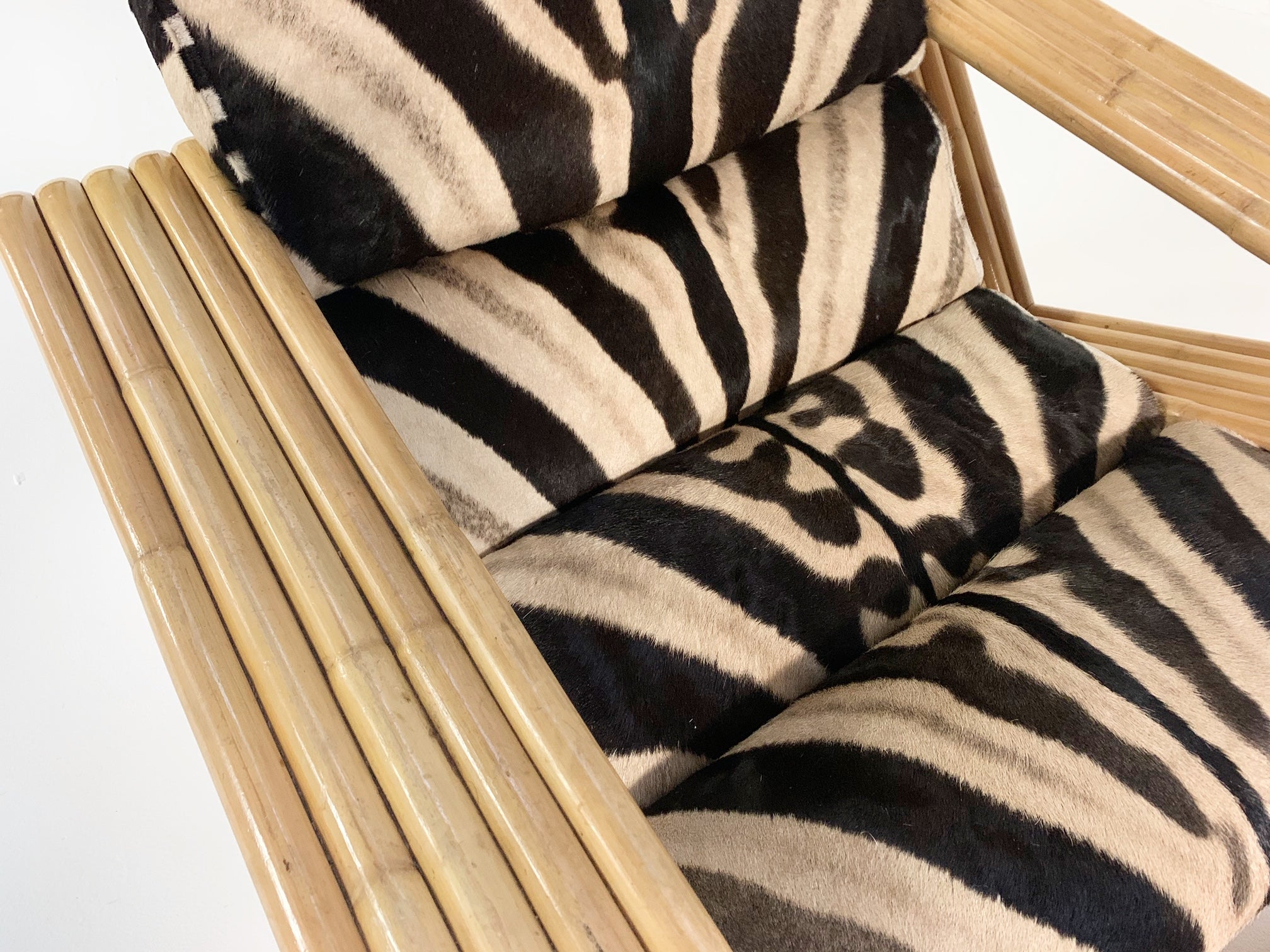 Rattan Lounge Chair and Ottoman in Zebra Hide
