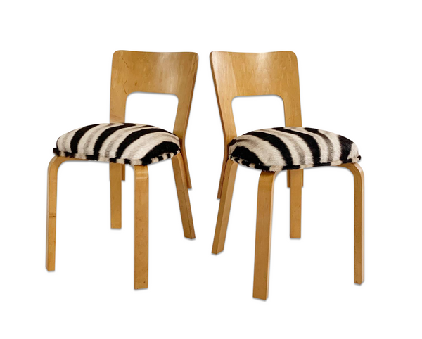 Model 66 Chairs in Zebra Hide, pair