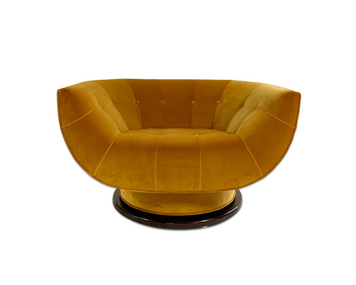 Swivel Lounge Chair in Loro Piana Velvet - FORSYTH