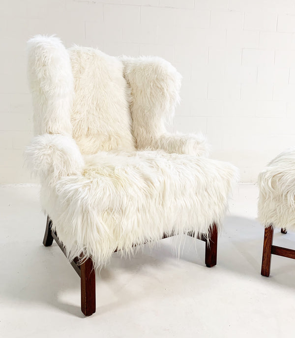 Large Wingback Chair and Ottoman in Angora Goatskin - FORSYTH