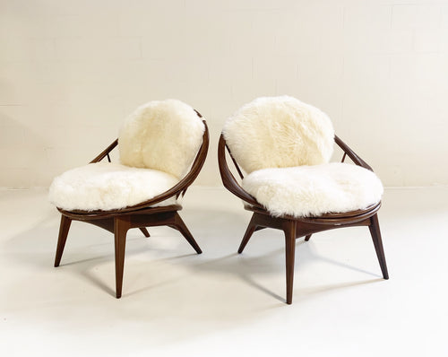 Bentwood Lounge Chairs with Sheepskin Cushions - FORSYTH