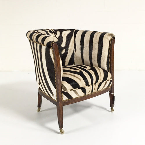 1930s Barrel Chair in Zebra Hide - FORSYTH