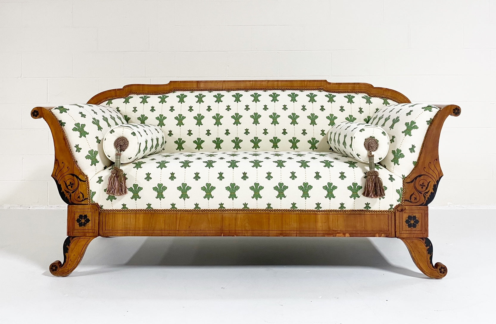 "19th Century Biedermeier Parcel Ebonized Walnut Sofa in Beata Heuman ""Florentine Flowers"""