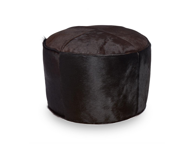 The Forsyth Pouf Ottoman in Black Cowhide
