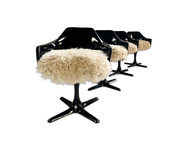 Tulip Armchairs with California Sheepskin Cushions, set of 4 - FORSYTH