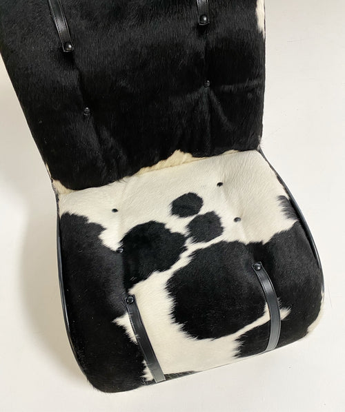 Fiberglass Lounge Chairs in Brazilian Cowhide and Leather, pair