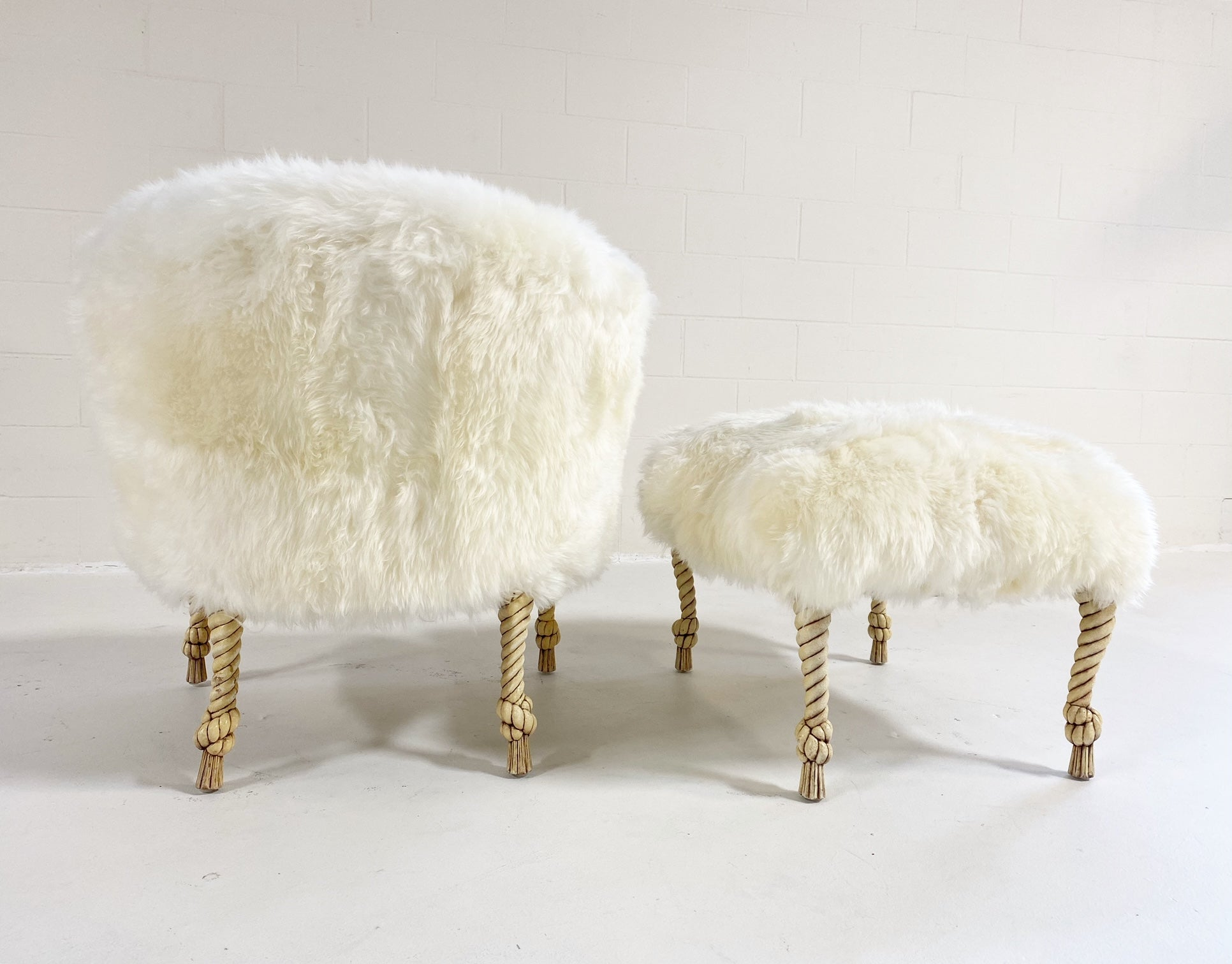 Napoleon III Style Twisted Rope and Tassel Carved Armchair and Ottoman Restored in Sheepskin