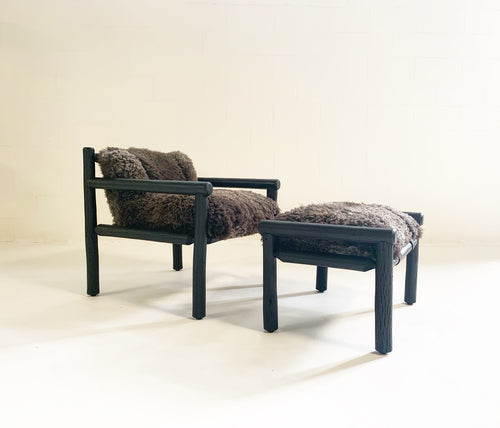 Black Butte Chair and Ottoman with Sheepskin Cushions - FORSYTH