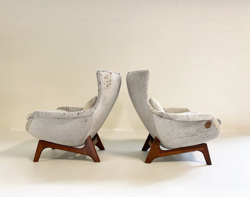 Wingback Lounge Chairs in Brazilian Cowhide, pair
