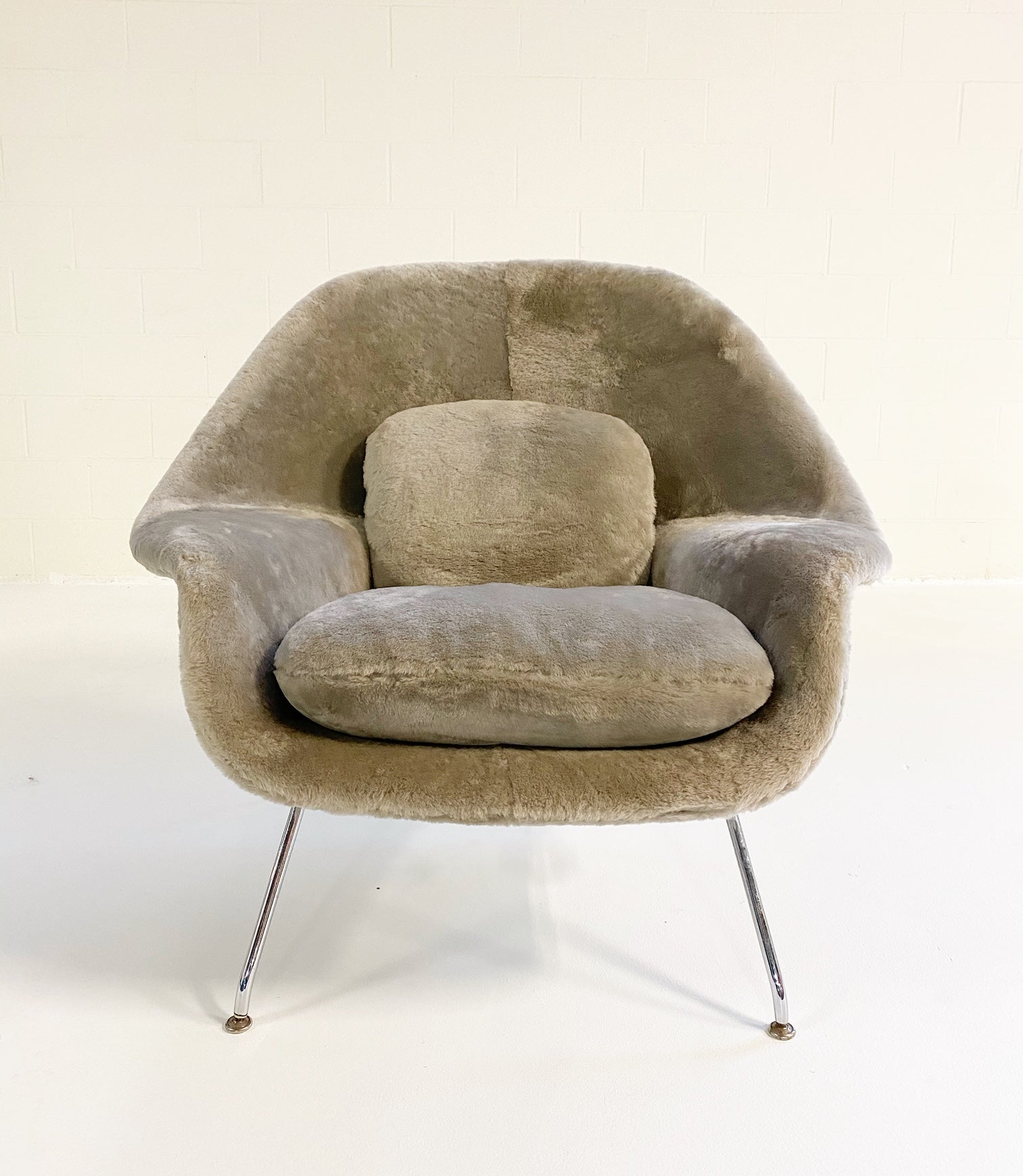 Bespoke Womb Chair and Ottoman in Shearling